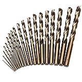 CUKCIC Punte Elicoidali Cobalto per Metallo M35 HSS-Co Cobalto Punta per Trapano Jobber Gambo Parallelo Trapano da Lavoro per Legno Plastica Alluminio Metallo Acciaio Inossidabile 1-10mm 19pezzi