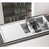 Granitspüle in weiß Spüle Granit Einbauspüle Küchenspüle inkl. Drehexcenter Ab-