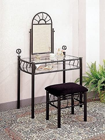 Black Wrought Iron Vanity Table Set Make Up Mirror by Coaster Home (Home Furnishings)