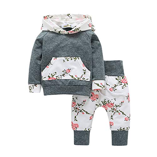 OVERMAL Baby Jungen Bekleidung Set Neugeboren Herbst Winter Baby Mädchen Set Kleidung Pullover Mit Kapuze Sweatshirt +Hosen (0-3 Monate, Grau) Baby Pullover