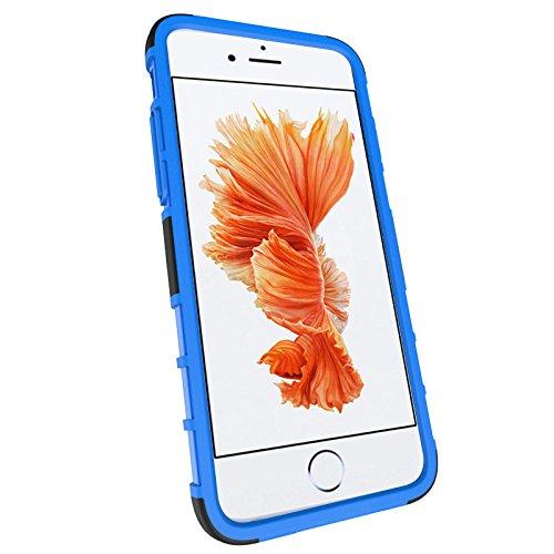iPhone 7 Plus Hülle, 2 in 1 Bumper Stoßfest Schutz mit Ständer, Silikon + Hartplastik Case für iPhone 7 Plus (Blau) Blau