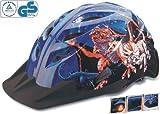 Spezial Fahrradhelm mit DINO-Motiv + integriertes LED-Rücklicht (Größe 48-52cm, Jungen-Helm)