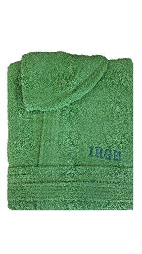 Accappatoio con cappuccio in spugna 100% cotone tinta unita uomo donna unisex irge (xl, verde)