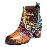 Gracosy Bottines Hiver Talons Femmes, Bottes en Cuir Chaussures de Ville Hiver à Talons Hauts Confortable Boots Bout Pointu avec Semelles Conforts Design Lanière Boucle Original Boheme 2018