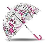 Kids Parapluie Transparent Cloche 48 cm Manuel de Licornes Parapluie Classique, 80 cm, Multicolore