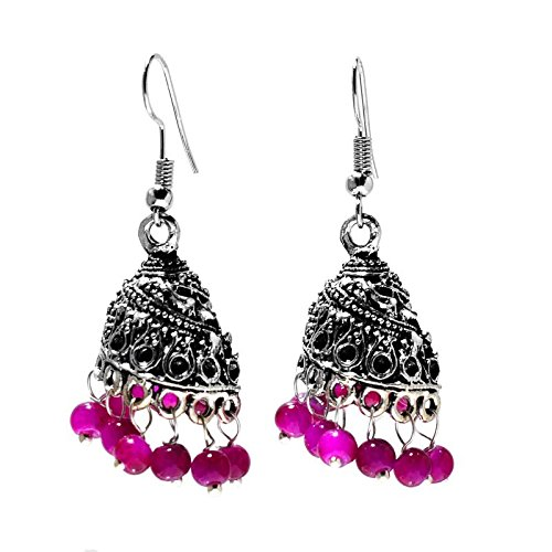 Afashioner's Alloy Oxized Silver Plated African Amethyst Beads Gemstone Long clip on Earring For Women