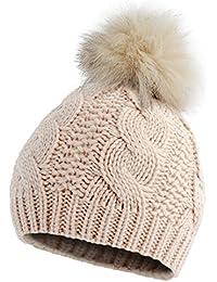 Brubaker Mütze aus streichelzartem Zopfstrick mit Echtfellbommel in 6 angesagten Winter Farben