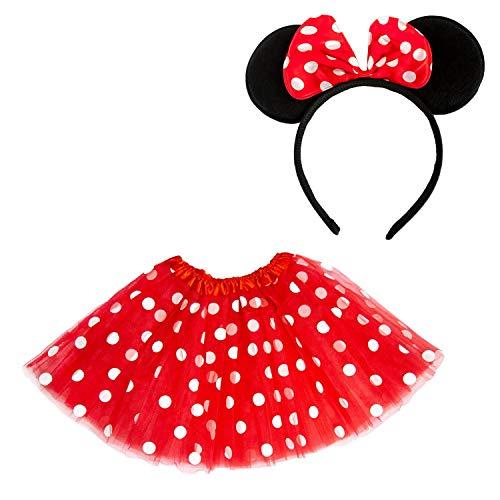 Tutu Rot Schwarz Und Kostüm - Oblique Unique® Damen Maus Mouse Kostüm Rot Weiß Schwarz mit Tutu Gepunktet + Haarreifen mit Maus Ohren und Schleife für Fasching Karneval Motto Party