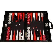 Set di backgammon da torneo Wycliffe Brothers - Pelle di coccodrillo nera con campo nero - Gen III
