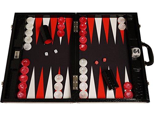 Preisvergleich Produktbild Wycliffe Brothers Backgammon-Turnierset – Schwarzes Kroko mit schwarzer Spielfläche – Gen III