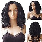 S-noilite Perruque lace-front Cheveux naturels ondulés et relâchés noirs 1B