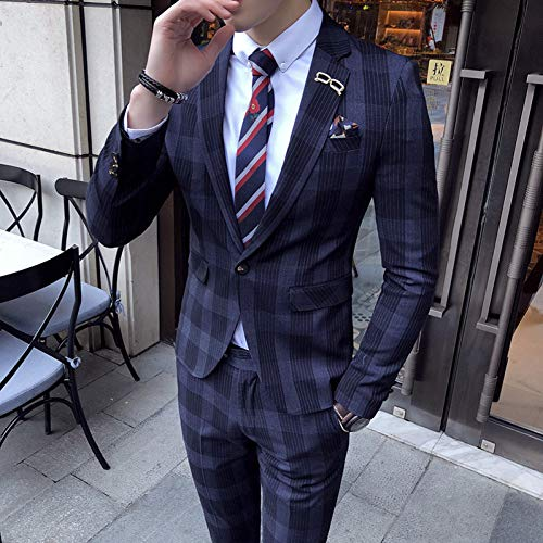 Big Man-anzüge (GFRBJK Mens Big Plaid Anzug knöchellangen Kostüm Homme Cofee Blue Stripe Check Elegante Plaid Anzug für Männer , Blue , S)