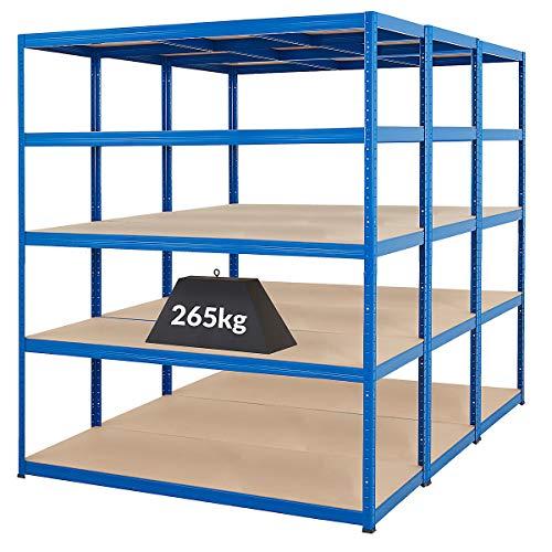 Mega Deal | Set aus 3x Schwerlastregal (Tiefe 60 cm) |Fachlast 265 kg pro Fachboden | Metallregal Kellerregal Lagerregal Werkstattregal Garagenregal |Belastbar mit 1325 kg