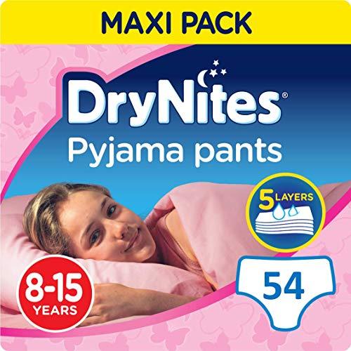 DryNites Girl hochabsorbierende Pyjamahosen Unterhosen für Mädchen 8-15 Jahre, 2er Pack (2 x 3 x 9 Windeln), 54 Stück