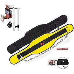 2Fit inmersión cinturón de neopreno peso Lfiting entrenamiento cuerpo edificio Dip cinturón con cadena de Metal - amarillo, Hombres, Mujeres, Unisex