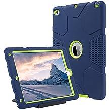 iPad Air 2 Caso, ULAK iPad Air 2 Funda 3in1 Carcasa híbrido resistente resistente a choques caso de la cubierta de Kickstand para iPad Air 2 2014 Release (6ta generación) - Armada