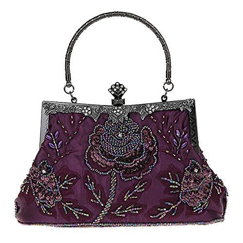 MMYOMI Vintage Floral Perlen Strass Stickerei Kupplung Pailletten Hochzeit Prom Bag Bridal Damen Crossbody Abend Handtasche (Lila) - Perlen-geldbörse Handtasche Tasche