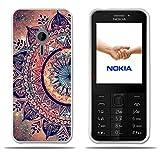 Nokia 230 Hülle,FUBAODA[Hälfte der Mandala Blume]e Silikon TPU Mode Kreatives Design Slim Fit Shockproof Flexible Blumen gedruckt Blume Hybrid Schock Absorbing Girl Geschenke Beschützer für Nokia 230