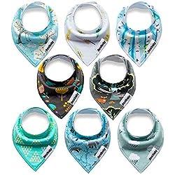 Yafane paquete de 8 unidades de pañuelo para el cuello de bebé, babero triangular con botón de presión, para bebé niño y niña, niños pequeños, absorbente, suave, tamaño ajustable