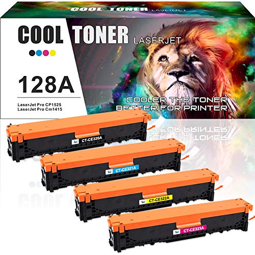 Cool Toner 4 Packs Remanufactured für 128A CE320A CE321A CE322A CE323A für HP Laserjet Pro CP1525 CP1525N CP1525NW CM1415 CM1415FN CM1415FNW MFP - 2,000 Pages, Colour - 1,300 Pages -