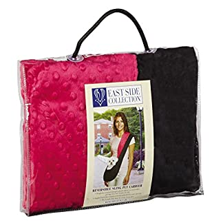 East Side Collection Reversible Sling Pet Carriers – Brightly Colored Polyester Over-the-Shoulder Carriers for Small Dogs, Black and Pink 51G52XtfaaL