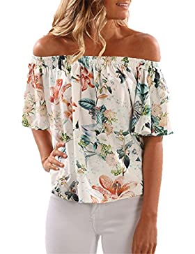 Auxo Mujer Camisetas Sin Hombros Mangas Cortas Verano Foral Impresions Florales Casual Elegante Tops