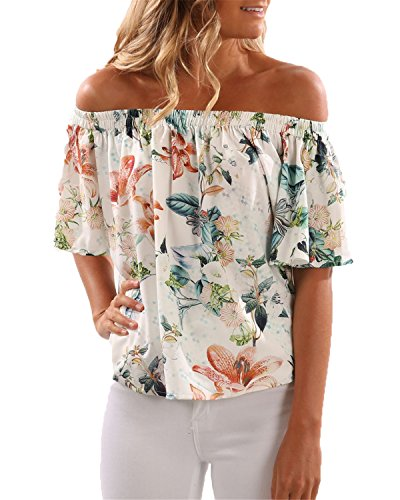 Auxo Women Chiffon Floral Print Off Shouler Ruffle Short Sleeve Casual Summer Blouse Shirt Tops