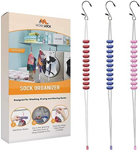 Mobi Lock Sock Organizzatore Porta Lavatrice Asciugatrice - Pacco da 3 - Accoppia Calzini per 30 Paia pi Calzini - Ganci Lavanderia Accessori - Utilizzabili per Reggiseni Intimi e Biancheria la Casa