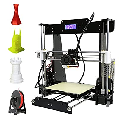 3D Printer, LESHP High Precision Desktop Prusa i3 3D Printer with All Metal MK8 Extruder Nozzle Dual Air Vents, Acrylic Frame LCD Screen 220*220*240mm Personal DIY 3D Printing Printer Machine, with Detailed Video with 8GB SD Card Support ABS/PLA/HIP/PP/Wo