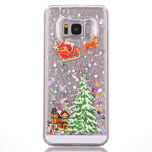 Schutzhülle für Samsung Galaxy A5 2016, Weihnachtsmann Elch Fließende grüne Sterne Pailletten Quicksand Bling Glitzer Hülle für Samsung Galaxy A510 / A5 2016, Samsung Galaxy J7 2016, New Star-Colorful