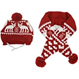 Alemon Cat Christmas Reindeer Scarf and Hat Set Costume for Small Pets Puppy, Red Small