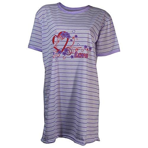 Damen Nachthemd halbarm mit Streifen in 6 verschiedenen Farben Violett