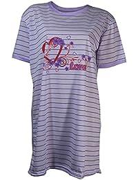 Damen Nachthemd halbarm mit Streifen in 6 verschiedenen Farben