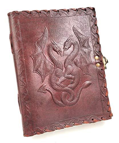 Kooly Zen - double dragon, Carnet, bloc notes, journal, livre, serie premium, cuir véritable, vintage, fermoir métal, 15cm X 20cm, Papier premium