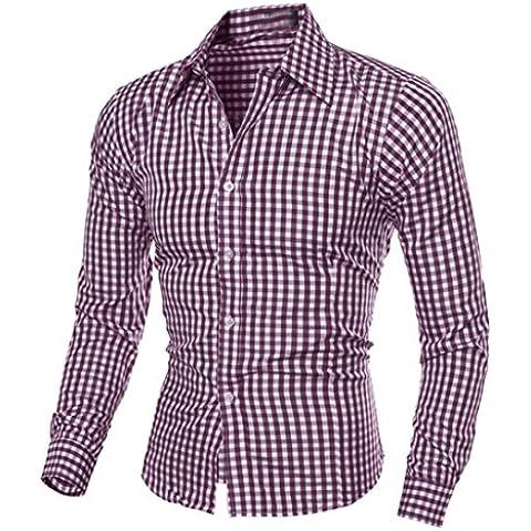 Camisa de los hombres, Amlaiworld blusa de manga larga Plaid (L, púrpura)