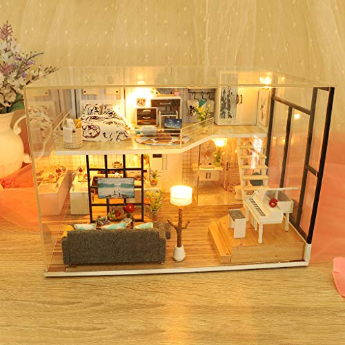 ToDIDAF Wooden Dollhouse 3D DIY Miniature House Furniture LED House Puzzle Educational Toy for Kid Birthday Valentine's Day for Bedroom Home Garden Decor - Happiness Password (with Dust Cover)