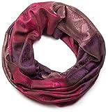 styleBREAKER Blumen, Hibiskus Blüten, Paisley Muster, Loop Schlauchschal, warme und weiche Qualität 01018058, Farbe:Violett-Pink-Rosa