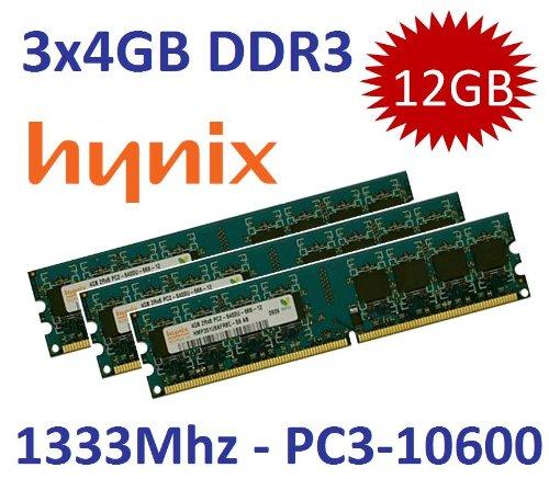12GB Triple Channel Kit HYNIX original 3 x 4 GB 240 pin DDR3-1333 Non-ECC unbuffered DIMMs (PC3-10600, 1333Mhz, 240pin, CL9, 1.5V - 3x HMT351U6AFR8C-H9) für DDR3 Mainboards -