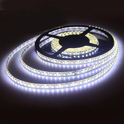 ALED LIGHT®Impermeable Cuerda de luz LED 16.4 pies 5m 2835 SMD 600 LED blanco cálido luz de tira, 12V adaptador de corriente 5A + duradero tira del LED, luces decorativas para vacaciones, exposición de la demostración (Blanco frío)