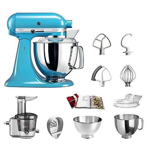 Zitruspresse Kitchenaid (KitchenAid Küchenmaschine | VORTEILS SET | Artisan 5KSM175PS Entsafter Paket | inklusive Entsaftervorsatz, Zitronenpresse und Standardzubehör (Cristallblau))