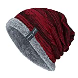 YWLINK Unisex StrickmüTze Absicherung Kopf Cap MüTze Warmer Mode Hut Mit Warmem Innenfutter Pfahlkappe(Freie Größe,Weinrot)