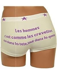 Shorty Femme Marrant, Blanc et Violet, Les Hommes c'est comme...