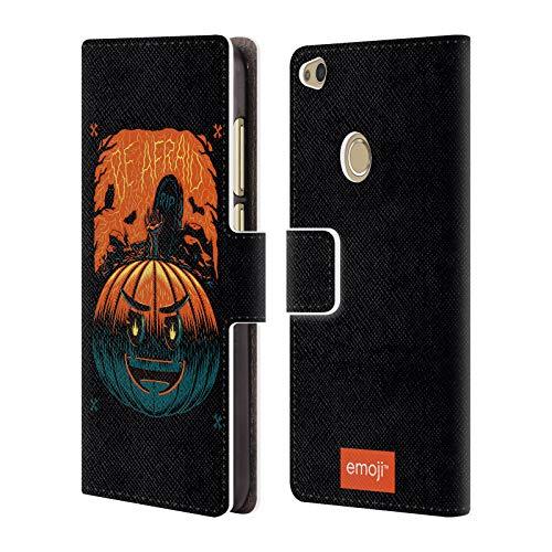 Head Case Designs Offizielle Emoji Kürbis Halloween Brieftasche Handyhülle aus Leder für Huawei P8 Lite (2017)