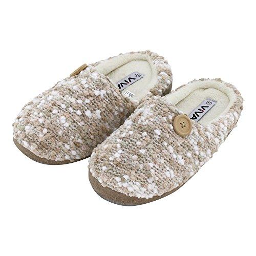 Damen Hauspantolette Flausch Pantoffeln Schlappen mit Knopf - Farben: Taupe, Creme - Größen: 36-41 - von Brandsseller Taupe