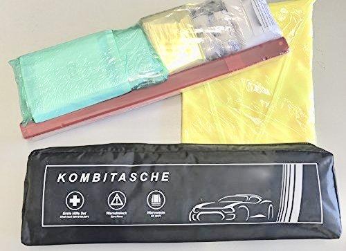 erste hilfe auto set Tuningmods® 3in1 KFZ Verbandskasten Kombitasche - Trio mit Warnweste, Erste Hilfe Set und Warndreieck