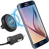 scozzi KFZ Magnethalter + Auto Ladekabel für Samsung Galaxy S7 / S7 edge / S6 / S6 edge / S6 edge+ / S5 / S5 mini / S5 neo / S4 / S4 mini / S3 / S3 mini / S2 / S2 Plus / S / A3 / A5 / J7 / J5 / J5 Duos / J3 / J3 Duos / J1 / Xcover 3 / Halterung für die Lüftung im Auto und LKW