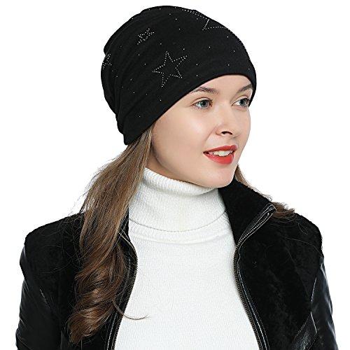 Imagen de dondon mujer gorro de invierno con estrella plata estrás estrella e forro interior suave  negro