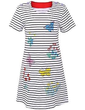 OKIDSO Reizendes Mädchen T Shirt Kleid Sommer Kurzarm Kleid,Reine Baumwolle,Weiß