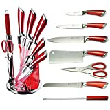 Hillington ® Premium Kitchen Knife Block Set – Professional 8 Piece Stainless Steel with Ultra Sharp Non Stick Blades - Imperial Herzog Home Collection Chef Food Cooking Set with Comfortable Ergonomically Designed Soft Grip Handles - Stylish High Quality Acrylic Worktop Display Stand (Red)