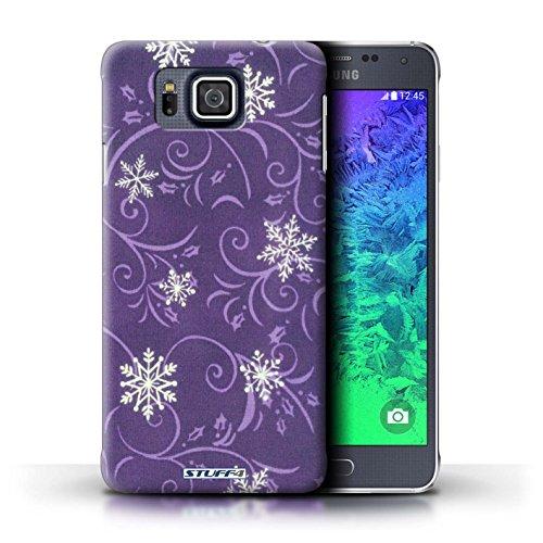 Kobalt® Imprimé Etui / Coque pour Samsung Galaxy Alpha / Turquoise conception / Série Motif flocon de neige Pourpre